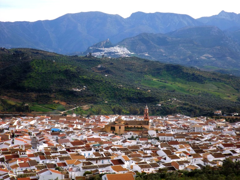 A View of Algodonales with Zahara in the background from our walk around the outskirts of the village