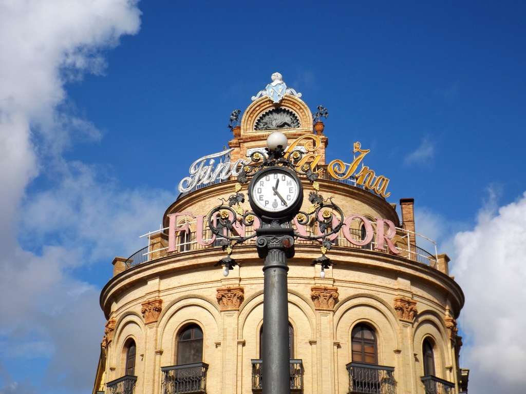 Funky building and clock in Jerez