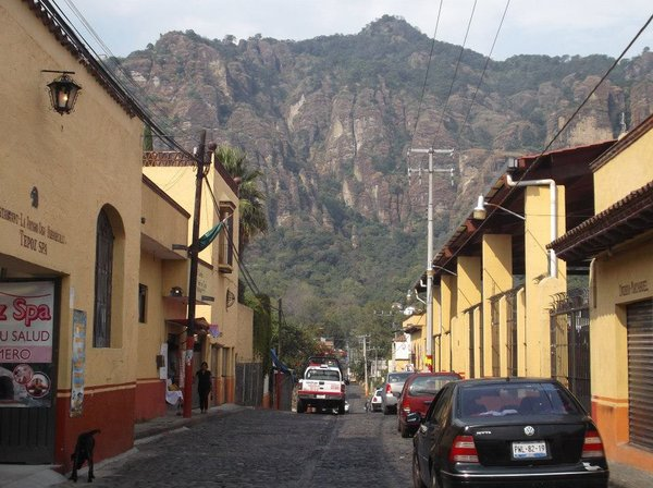 Street in Tepoztlán with view of the Mountain