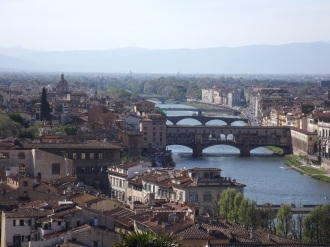 View of the Arno River and the Old Bridge (Ponte Vecchio) from Piazzale Michelangelo, Florence