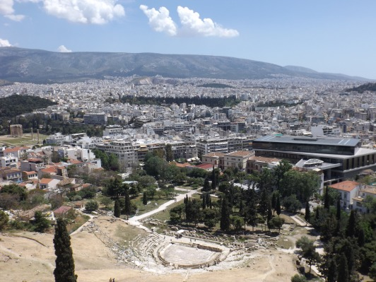 Theatre of Dionysus and view of Athens