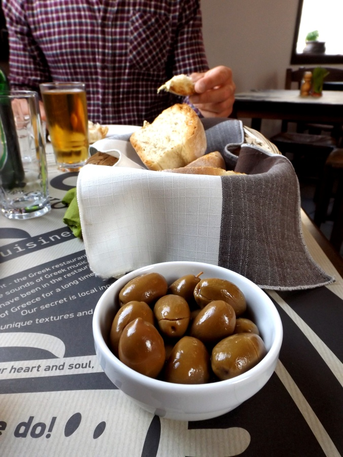 Greek Olives, Beer and Bread