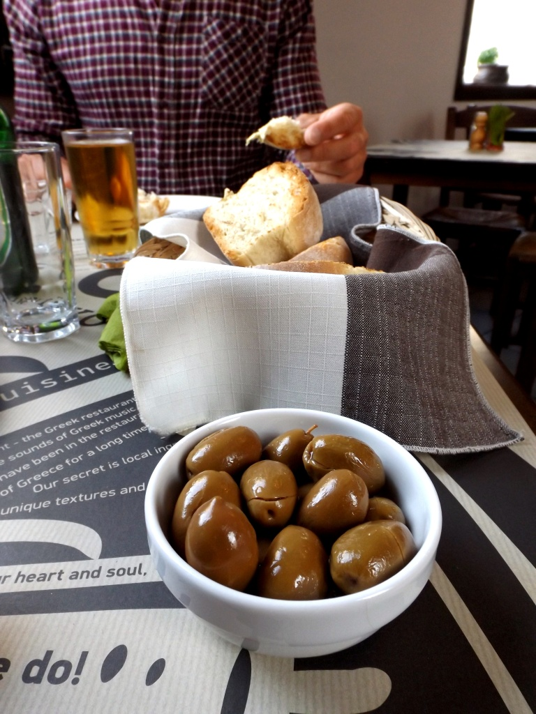 Greek Olives, Beer and Bread