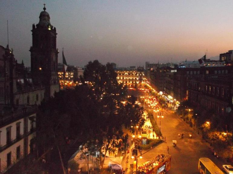 View of the Zócalo from the Hostel's Terrace