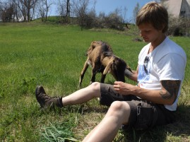 Phil making friends with Bambi the goat