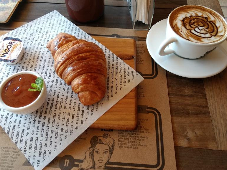 Cappuccino and Croissant at Café Cultura