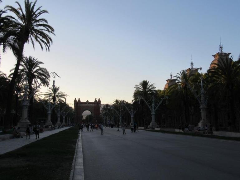 Summer evening view from Parc de la Ciutadella to the Arc de Triomf